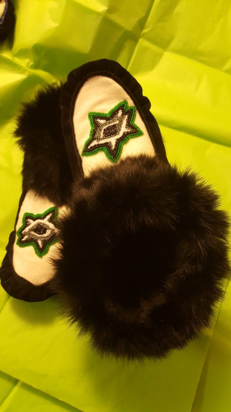 #Custom moccasins #hand beaded suede Melton wool and rabbit