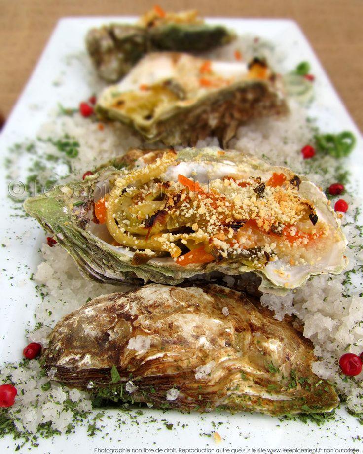 Huîtres gratinées au four, sauce crémeuse au vin blanc