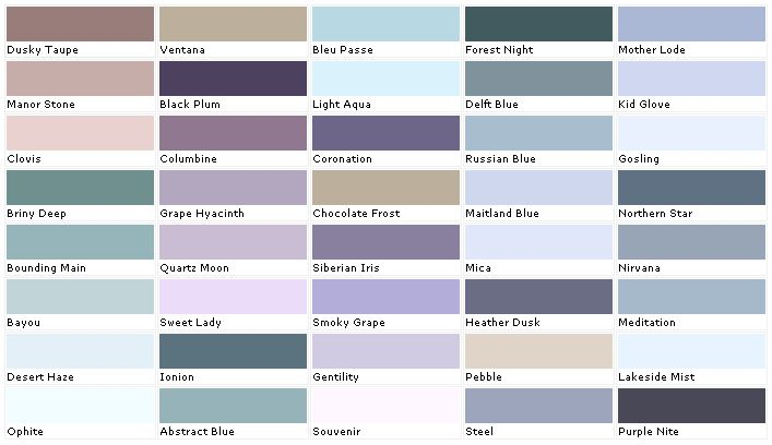 Lavender Paint Colors Chart  House Paint Color  Chart Chip