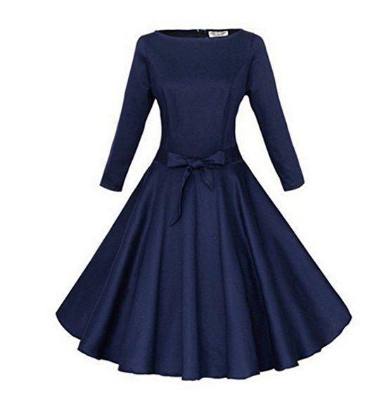 Padgene Vintage Damen Kleider Elegant 60er A-Linie Gürtel ...
