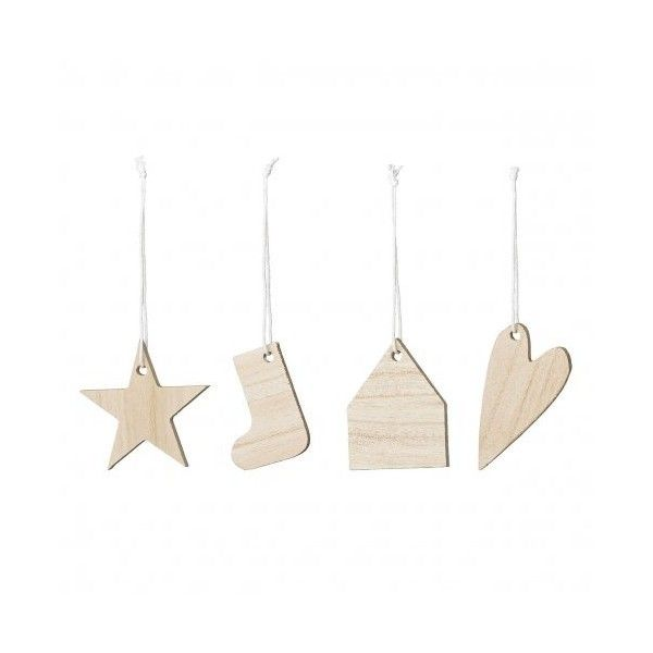 4 ornaments light wood (31 BAM) ❤ liked on Polyvore featuring home, home decor, holiday decorations, wooden ornaments, white christmas stockings, window ornaments, star ornaments and holiday window decorations