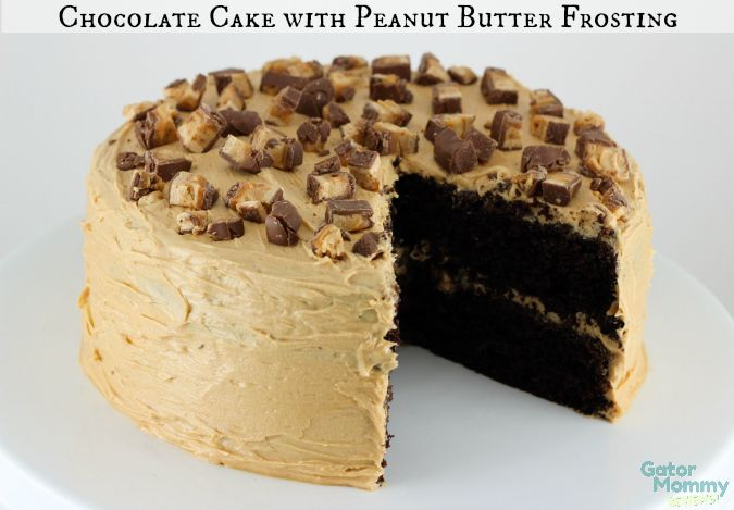 Chocolate Cake with Peanut Butter Frosting topped with SNICKERS® Peanut Butter Squared is the ultimate chocolate lover dessert!  #WhenImHungry #Ad #cbias - Chocolate Cake with Peanut Butter Frosting Recipe on Gator Mommy Reviews