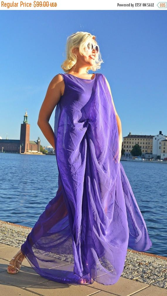 Just in: YELLOW SALE 25% OFF Extravagant Purple Kaftan / Sheer Summer Dress / Extravagant Purple Dress / Long Pu...