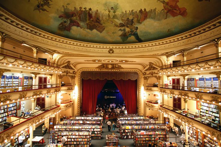 The poetry of Jorge Luis Borges and the rhythms of the tango come together at El Ateneo, which has played many roles: first a theater that hosted tango legends like Carlos Gardel; then a cinema; and now a seller of books and music. The majestic interior of the nearly century-old building retains its original rounded balconies, ornate trimmings, frescoed ceiling, and a stage (now a café) with plush red curtains. Pictured:El Ateneo Grand Splendid, Buenos Aires.