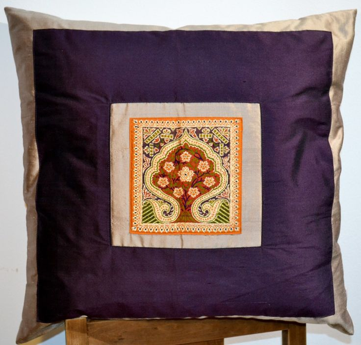 CUSHION 100% SILK  BLUE/GRAY EMBRODERY 50x50 via DARAM COLLIN DESIGN. Click on the image to see more!