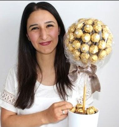 DIY Bonbon tree - creative gift with Ferrero Rocher chocholate balls // Bonbon fa - ajándék Ferrero Rocher csokigolyókból // Mindy - craft tutorial collection // #crafts #DIY #craftTutorial #tutorial #NewYearsCraft #NewYearsEve