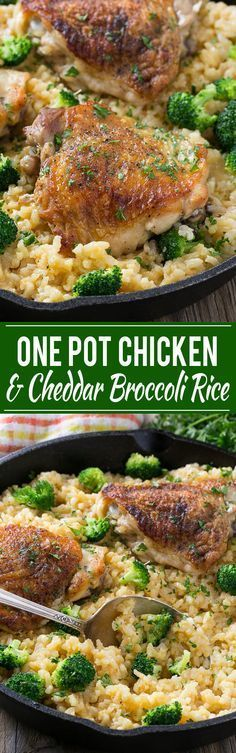 This one pot chicken with cheddar broccoli rice combines classic flavors for a quick and easy dinner. Chicken thighs are cooked with a creamy cheesy broccoli cheddar rice for a complete meal without all the cleanup.