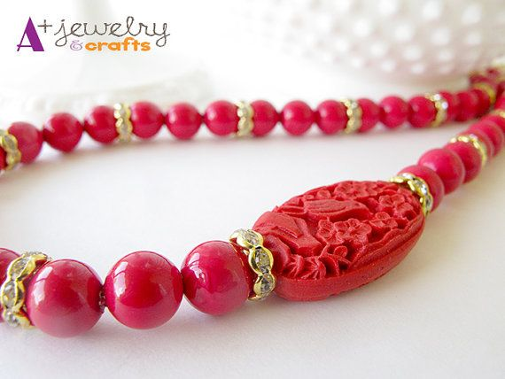 Red red necklace glass glass beads crimson by APlusJewelryCrafts