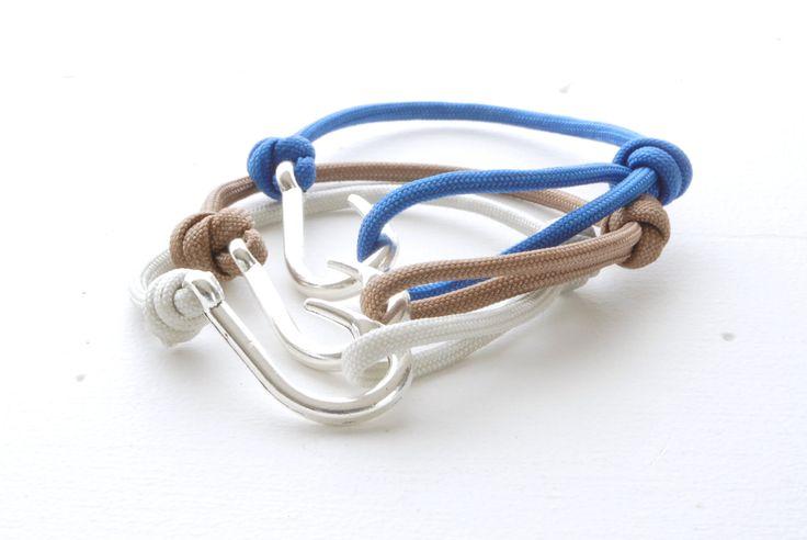 Pick your Colour Fish hook Bracelet - Rope Knotted Bracelet - Mens Paracord Bracelet - Single Wrap Bracelet - Silver Fish Hook Paracord by knotwrap on Etsy