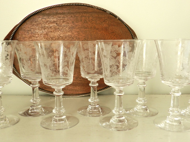 8 Vintage Etched Wine Glasses Water Goblets Asian Design Set of Eight.