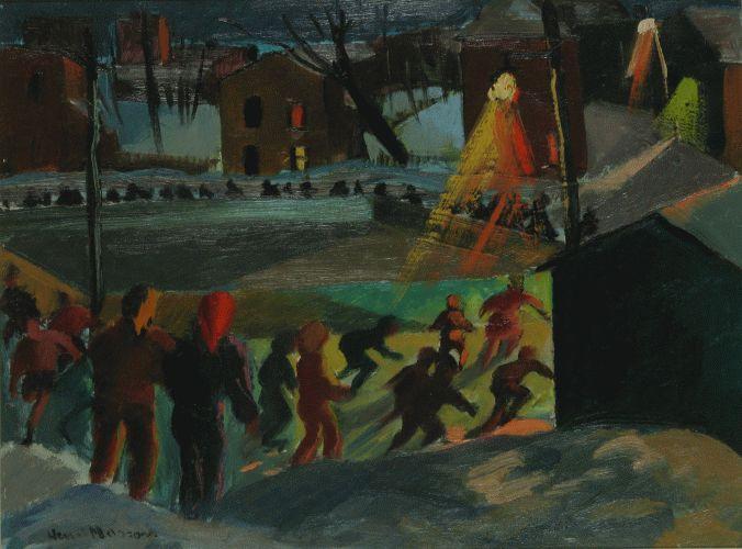 Henri Leopold Masson, Night Skaters in Flora park.