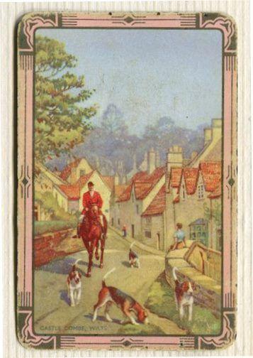 Swap Cards_hunting scene _pink gilt border