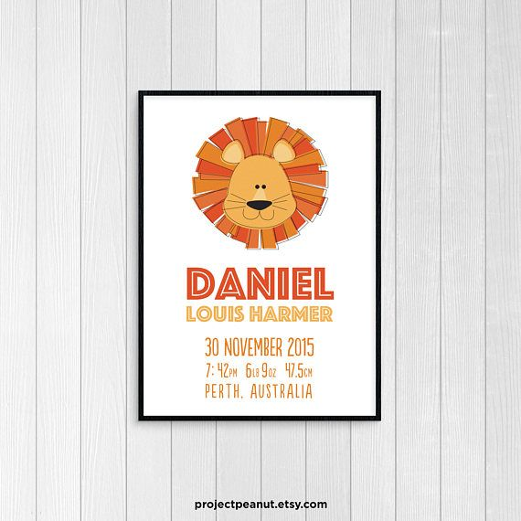 """Birth Announcement - Lion Wall Art - Nursery Wall Decor - Baby Boy Nursery - Birth Stats - Lion Nursery - Lion Decor - Baby Announcement  PLEASE NOTE:  + You are purchasing a digital file only.  + NO PRINTED MATERIALS ARE INCLUDED!  + There are NO REFUNDS as this is a digital product.  + A reminder that this is a DIGITAL PRODUCT.  WHAT DO YOU GET? 11x14 inch digital printable artwork  HOW TO ORDER  1. Purchase the digital file.  2. Leave in the """"message to seller"""":  -- name of baby  -- date…"""