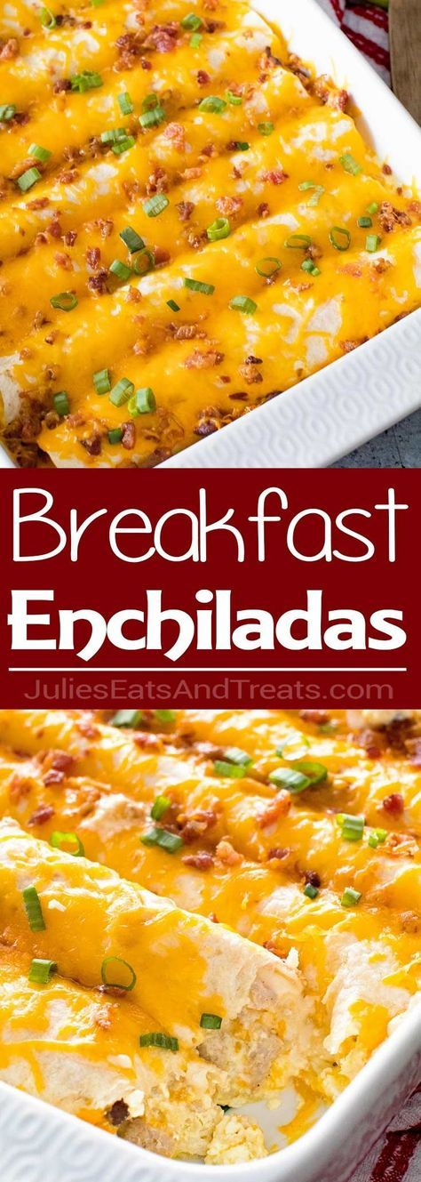 Overnight Breakfast Enchiladas ~ Tortillas stuffed with Sausage, Eggs,Cheese and Bacon! This is the Perfect Overnight Breakfast Casserole Recipe! via @julieseats