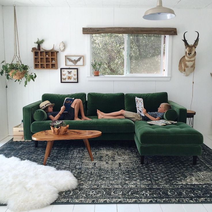 """Jodi Mockabee on Instagram: """"New reads and schoolroom progress!  I've been seeing the beautiful leather couches that @article makes and knew I wanted one for this space. But right at checkout, I quickly changed my mind.  Because, #greenvelvet, and also because this space is as much theirs as it is mine and we want this to be a fun, creative space! So glad I went with this choice. It's soft, comfy, and the kids love it!!"""""""