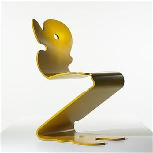 Verner Panton; Tinted Beech Plywood 'Pantonic 5010' Chair for Studio Hag, 1992.