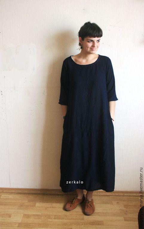 Купить Платье Океан - темно-синий, простое платье, лаконичность, макси платье, штапель