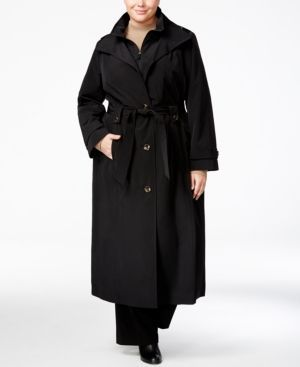 London Fog Plus Size Belted Maxi Raincoat - Black