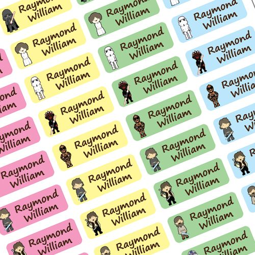 Cute Star Wars Name Labels. Strong Enough To Survive The Dishwasher, Microwave Safe And Wont Tear Or Fade! Pack Of 40 5cm X 2cm Labels Available Just In Time For The New School Season, click for more details.