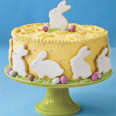 Easter Bunny Cake...decorated with bunny-shaped cookies, this cake is a whimsical Easter meal finale!
