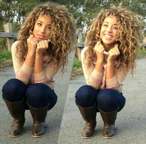 Natural curly hair with highlights... might be an idea?/: