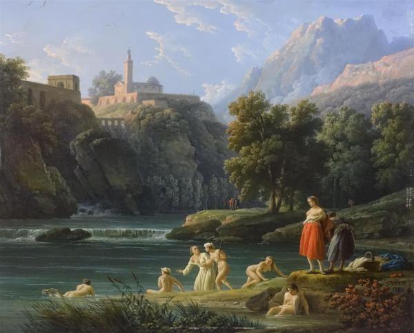 Vernet Claude Joseph Ragazze al bagno di rame, firmato e datato in basso a destra j.vernet.  1781