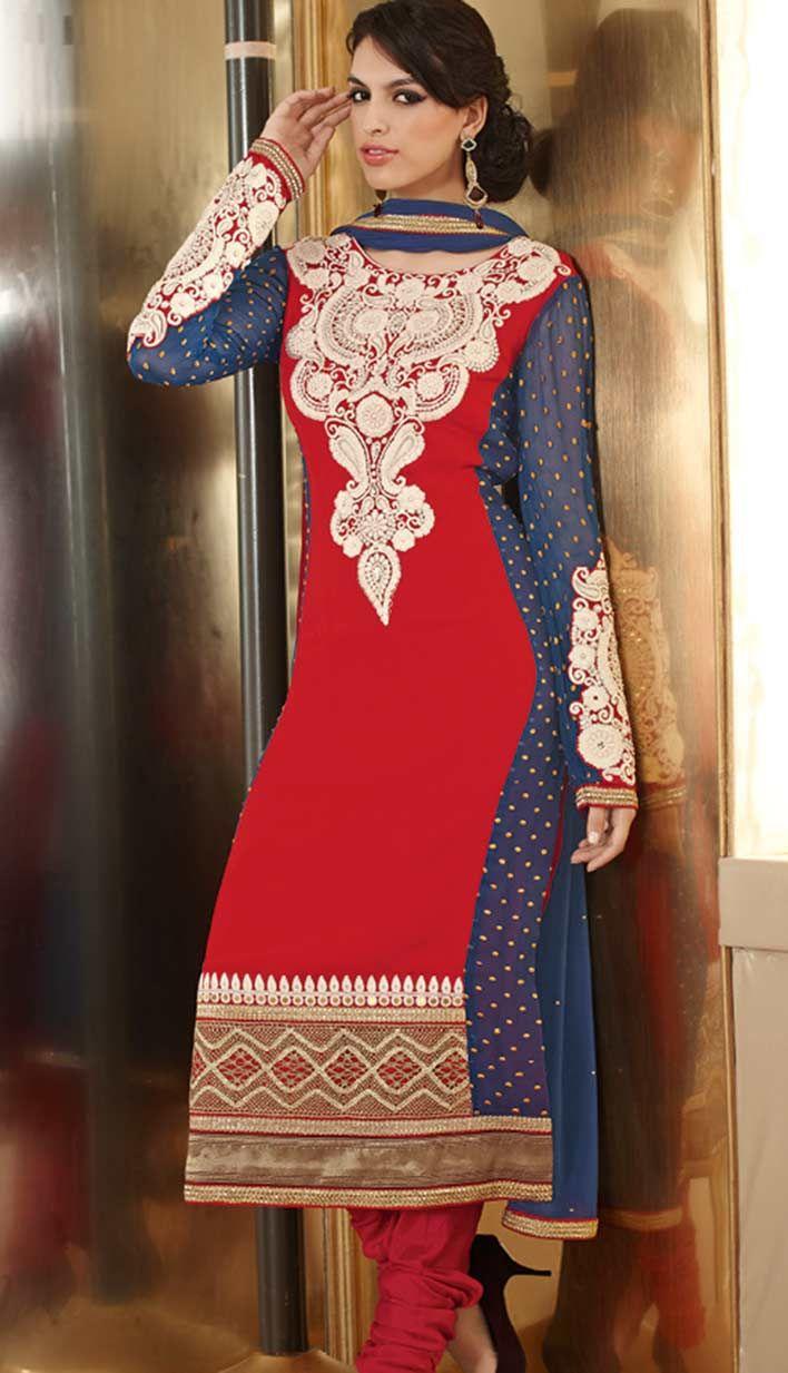 Fashionable Indian Red Georgette Pakistani Salwar Kameez .  For more information, visit Efello.com .