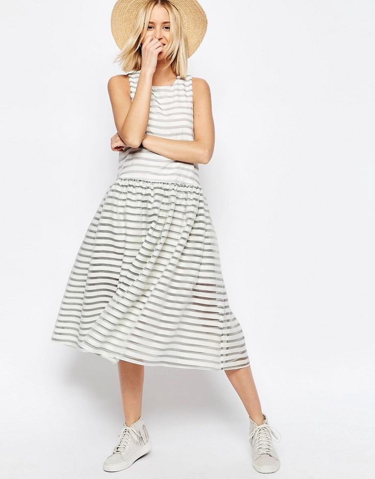 Image 4 of ASOS WHITE Stripe Organza Trapeze Dress