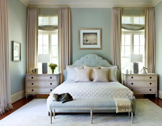 Seafoam green and cream accents with a charming curved headboard.....love everything about this minus the CAT!!!: Wall Colors, Side Tables, Guest Bedrooms, Paintings Colors, Phoebe Howard, Blue Bedrooms, Master Bedrooms, Window Treatments, Night Stands