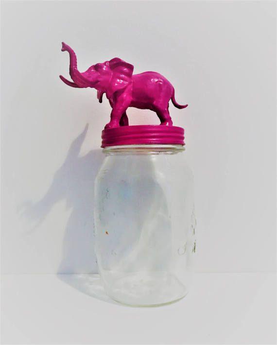 Pink Elephant Mason Jar Topper // Home Storage Décor // Jar