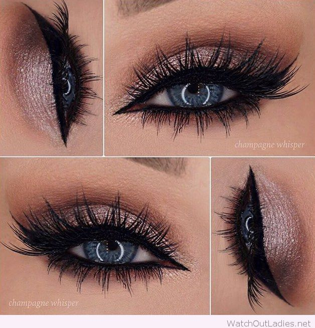 Rose glitter eye makeup for blue eyes