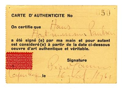 Piero Manzoni, Declaration of Authenticity No. 50 (Carte d'authenticité No. 50), 1961.   http://www.artexperiencenyc.com/social_login/