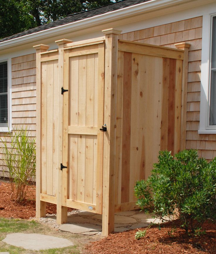 Our Cedar Outdoor Shower Enclosure as a house mount kit is our most popular model. It's easy to assemble and comes with all necessary hardware.