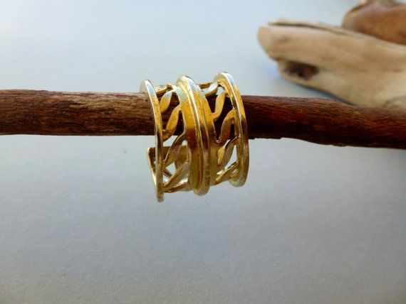 Brass Olive leaf Ring, Adjustable, Autumn ring, Handmade ring