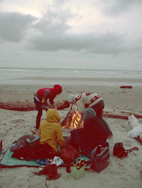 beach fire - reminds me of picnics at Tlell Beach that lasted long into the evening with kids crashed out on blankets listening to the grownups murmuring and laughing around the fire.