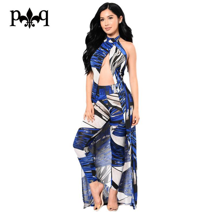 Hilove Ladies Jumpsuits Sexy Cut Out Elegant Halter Printed Jumpsuit Women Summer Overalls Vintage Sleeveless Long Rompers Femme