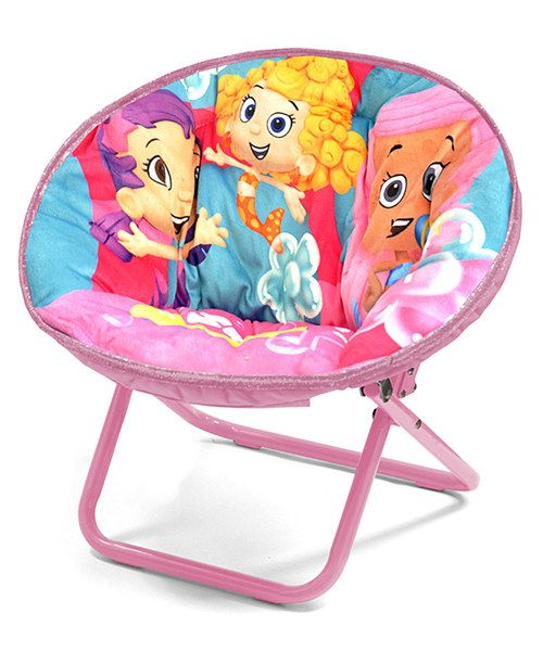 Lounge around with the Bubble Guppiesin this saucer chair. It can be folded up and put away to save space when not in use, but with such a dynamic design it can also serve as a decorating piece.18'' W x 18'' H x 18'' LMetal / polyesterSpot cleanRecommended for ages 3 years and upImported