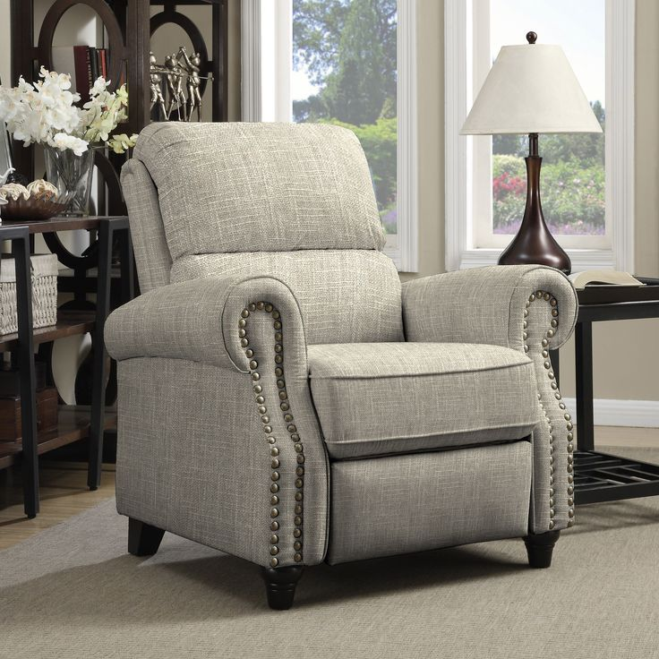 Prolounger Barley Tan Linen Push Back Recliner Chair By