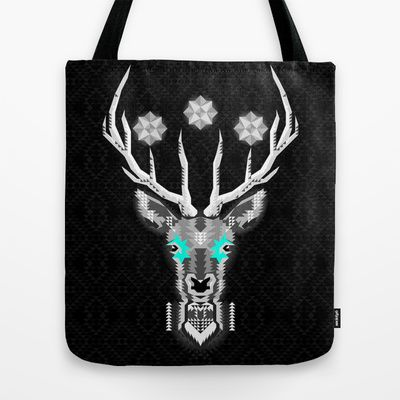 Silver+Stag+Geometric+Tote+Bag+by+chobopop+-+$22.00