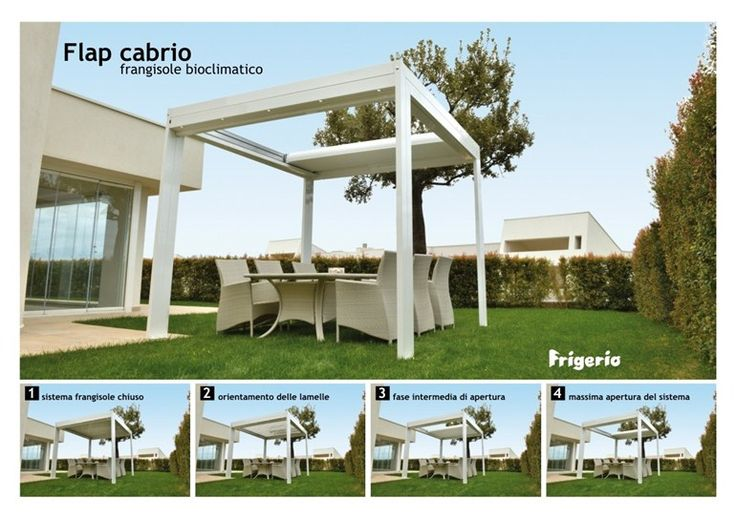 Download the catalogue and request prices of aluminium pergola with adjustable louvers Flap cabrio, design Frigerio Tende da sole to manufacturer Frigerio Tende Da Sole