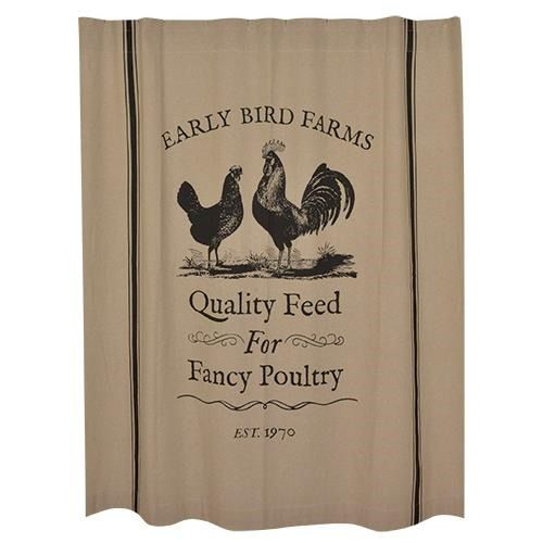 New Primitive EARLY BIRD FARMS Rooster Chicken Black Tan Fabric Shower Curtain  | eBay