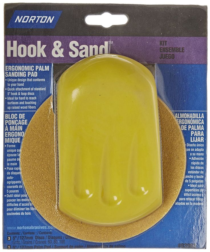 "Norton 07660703968 Ergonomic Hook and Sand Hand Sander Disc Kit with 5"" Pad, Paper Backing, Aluminum Oxide, 5"" Diameter, Grit 1M: Sanding Blocks: Amazon.com: Industrial & Scientific"