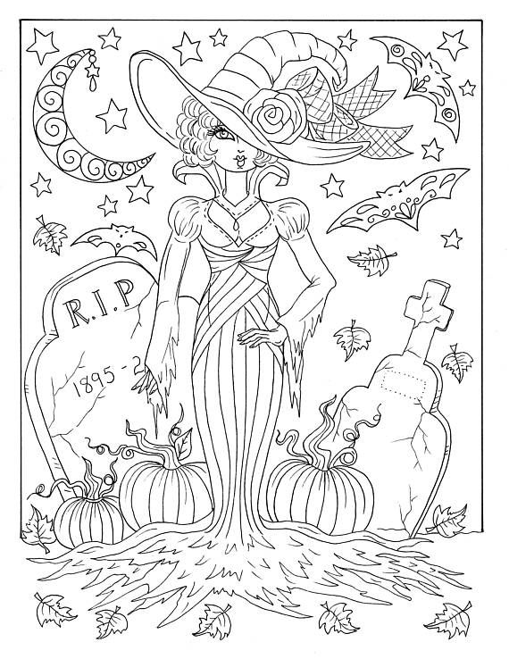 5 Pages Magical Witches Halloween Magic Coloring Pages Digital