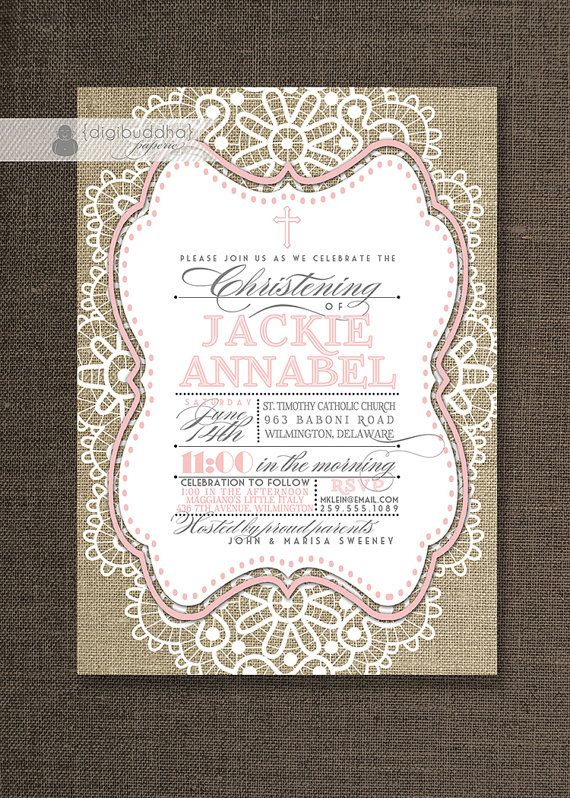 Baptism Invitation Lace Burlap Baby Soft Pink by digibuddhaPaperie, $23.00