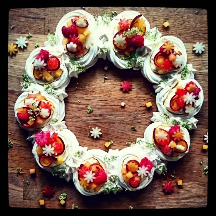 Summer fruits tear and share meringue nest wreath. Oh that's a bit of a mouthful! Delicious though, I had to have two pieces!! I've used white peaches, nectarines, raspberries and strawberries here, but any combination would be delicious. Have a lovely evening