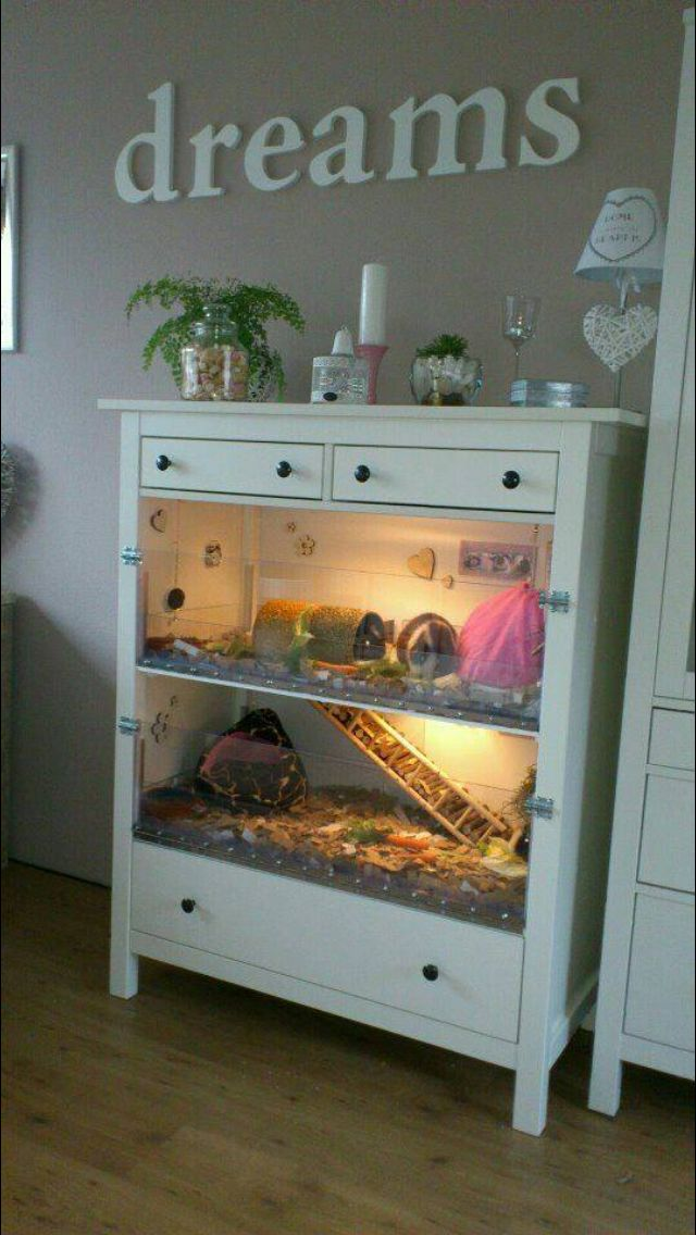 Turn a dresser Into animal cages - awesome idea