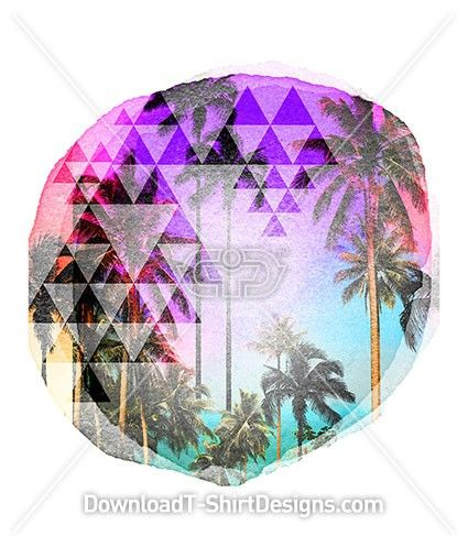Watercolor Circle Tropical Beach Palm. Download this design and print on your T-Shirts or products today at: http://downloadt-shirtdesigns.com/downloadt-shirtdesigns-com-2122813.html