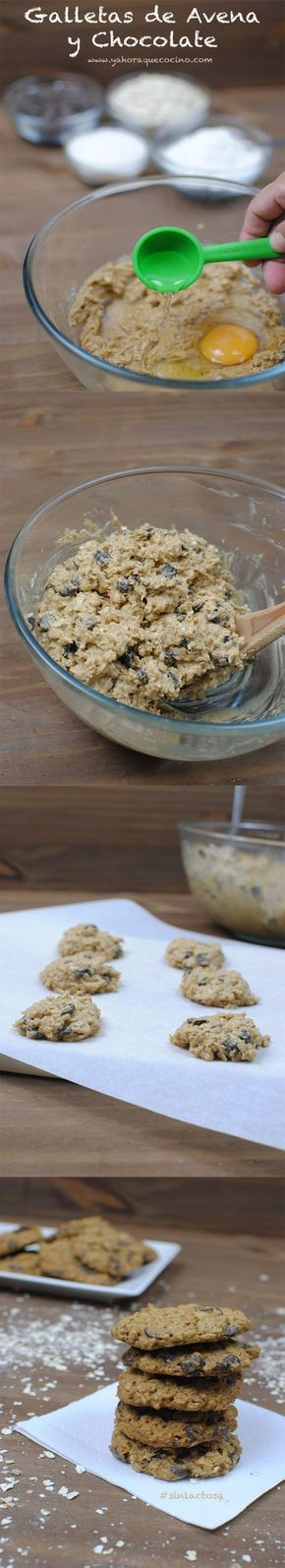 Galletas de Avena y Chocolate con coco rallado y sin lactosa(Recetas Fitness Desayuno)