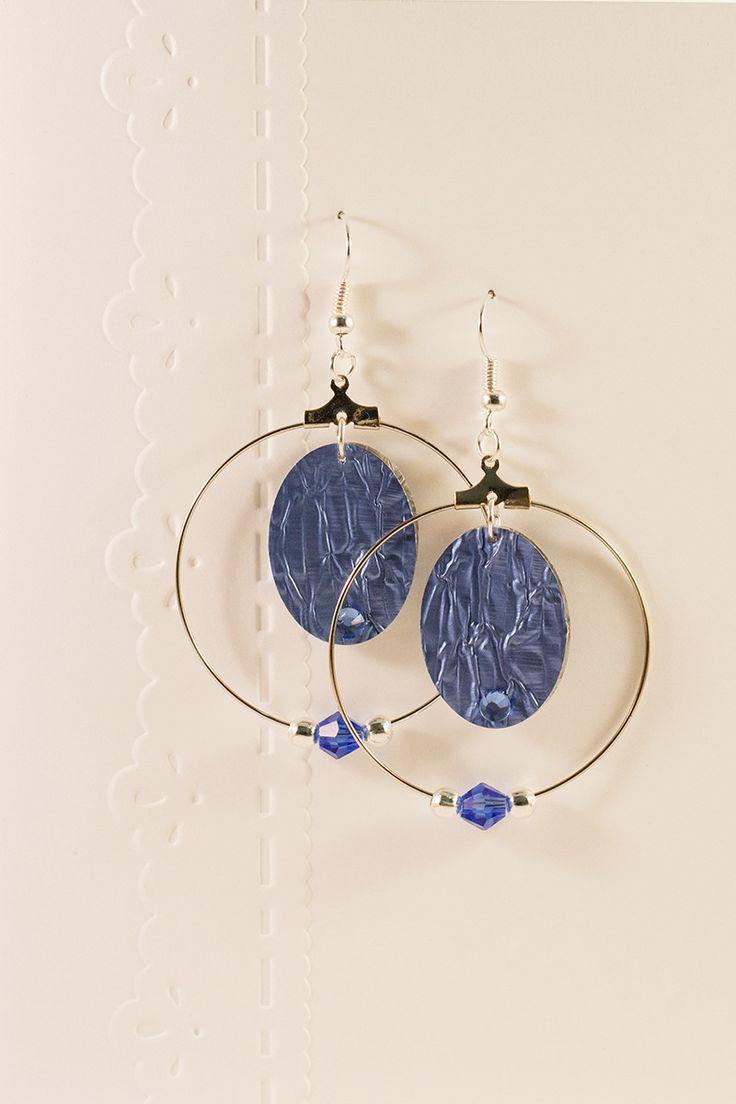 Boucles d'oreilles - Créoles et séquins bleus : Boucles d'oreille par cap-and-pap