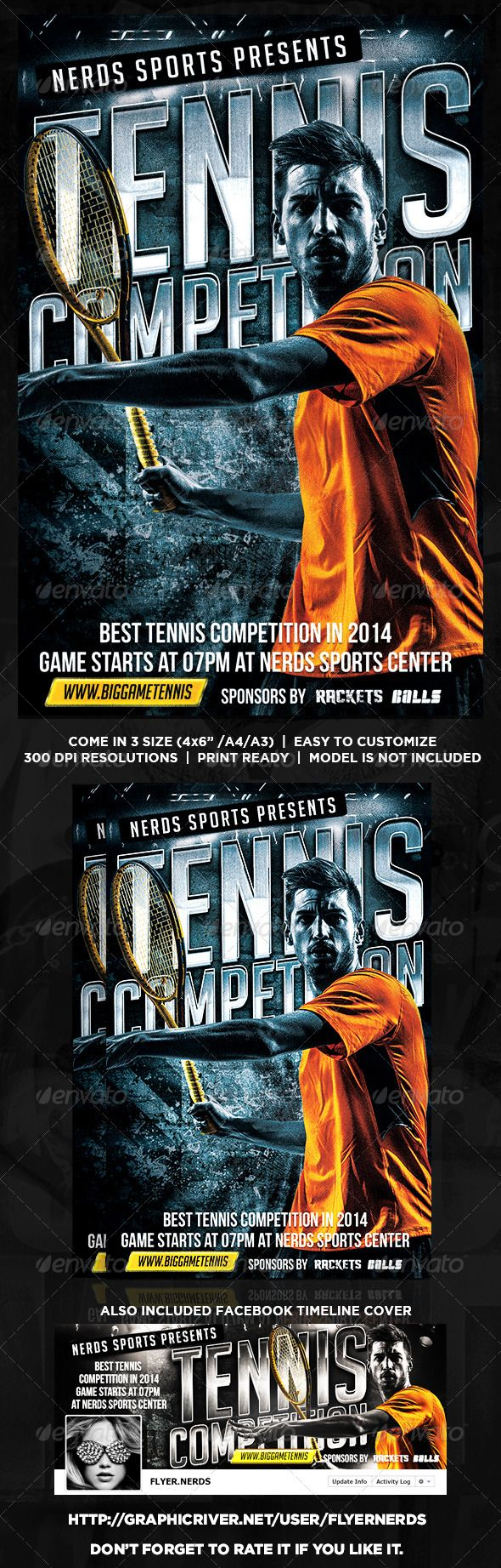 """Tennis Competition Flyer by flyernerds Tennis Competition Flyer Description :Come in 3 Size : 4x6"""" / A4 / A3 with bleedAlso included Facebook Timeline (as shown at previ"""
